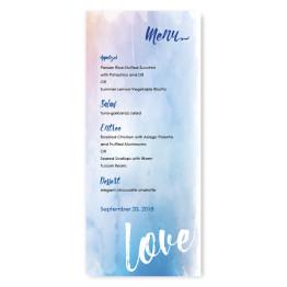 Watercolor Love Menu Cards
