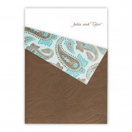 Aqua and Brown Paisley Wedding Invitations