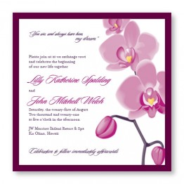 Tropical Orchid Square 2-Layer Wedding Invitations