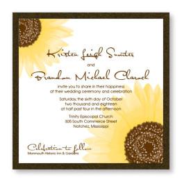 Sunflower 2-Layer Square Wedding Invitations