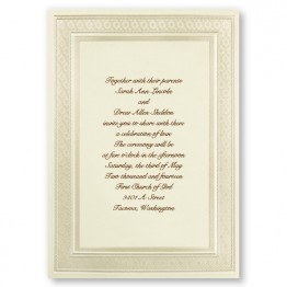Classic Ecru Pearl Border Wedding Invitations - LIMITED STOCK AVAILABLE