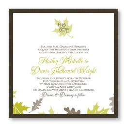 Fall Leaves Square 2-Layer Wedding Invitations