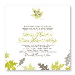 Fall Leaves Square Wedding Invitations