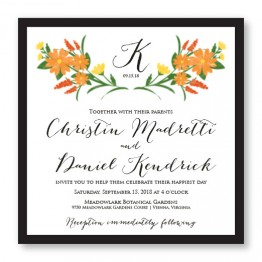 Floral Monogram Square 2-Layer Wedding Invitations