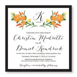 Floral Monogram Square 2-Layer Wedding Invitations