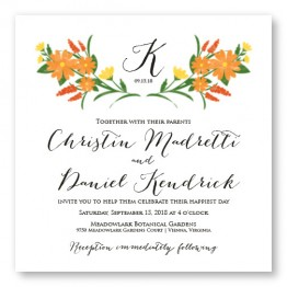 Floral Monogram Square Wedding Invitations