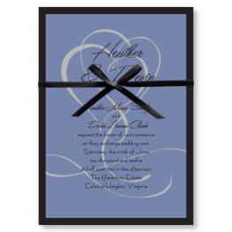 Flourished Double Hearts Wedding Invitations