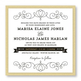 Heart 2-Layer Square Wedding Invitations