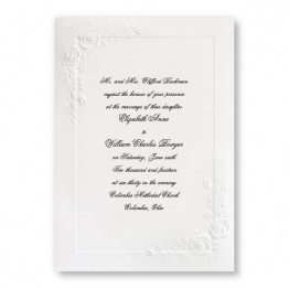 Large Embossed Roses Wedding Invitations - LIMITED STOCK ON HAND