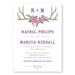 Rustic Antler Monogram Wedding Invitations