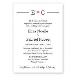 Simple Heart Wedding Invitations
