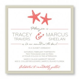 Starfish 2-Layer Square Wedding Invitations