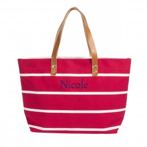 Personalized Striped Tote with Leather Handles - Coral