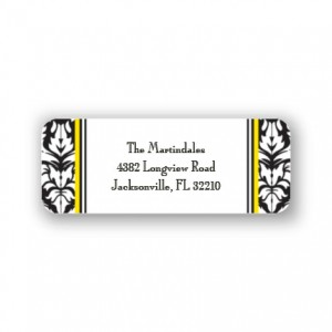 Black Damask Address Labels