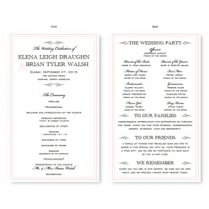 Cosmopolitan Wedding Program