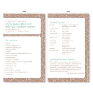Modern Feather Wedding Program