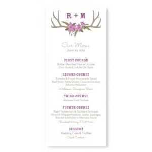 Rustic Antler Monogram Menu Cards