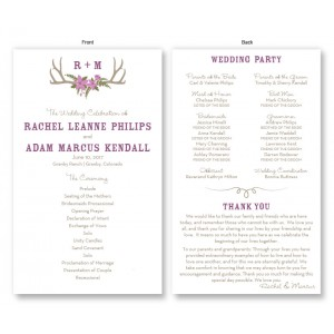 Rustic Antler Monogram Wedding Program