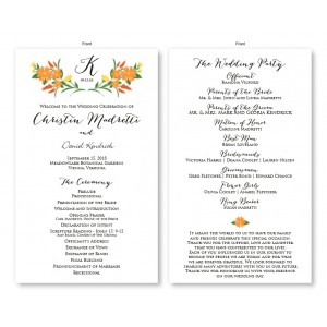 Floral Monogram Wedding Program