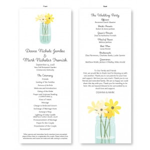 Mason Jar Wedding Program