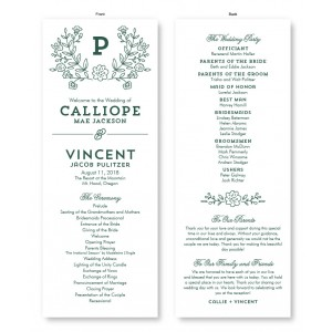 Garden Monogram Wedding Program