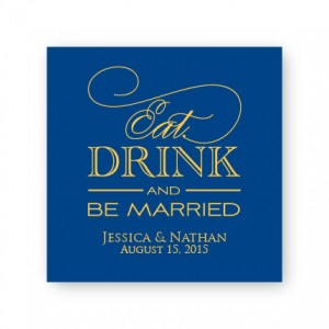 "Eat Drink and Be Married 2 1/2"" Square Sticker"
