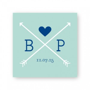"Hearts and Arrows 2 1/2"" Square Sticker"
