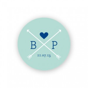 """Hearts and Arrows 1 1/2"""" Round Sticker"""