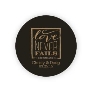 """Love Never Fails 2"""" Round Sticker"""