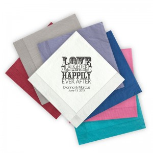 Love Laughter and Happily Letterpress Beverage Napkins