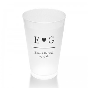 14 Ounce Simple Heart Frosted Plastic Tumblers