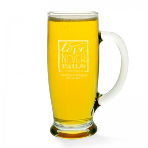 Love Never Fails Beer Mug