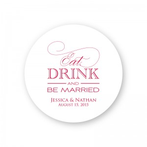 Eat Drink and Be Married Round Coasters