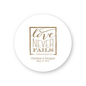 Love Never Fails Round Coasters