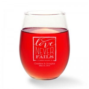 Love Never Fails Stemless Wine Glass