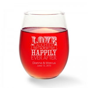 Love Laughter and Happily Stemless Wine Glass