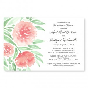Watercolor Floral Rehearsal Dinner Invitations