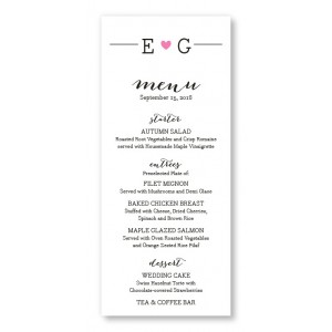 Simple Heart Menu Cards