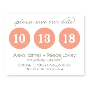 Number Bubble Save The Date Cards