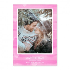 Painted Stripes Photo Save The Date Cards - Pink