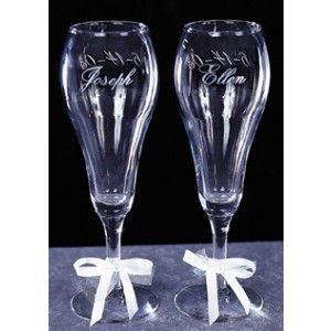 Engraved Wedding Tulip Glasses