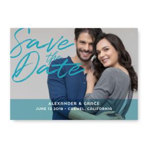Artistic Script Photo Save The Date Cards
