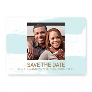 Watercolor Brush Photo Save The Date Cards - Blue