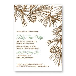 Pine Bridal Shower Invitations
