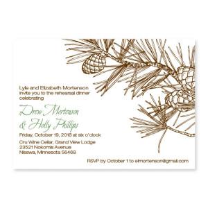 Pine Rehearsal Dinner Invitations