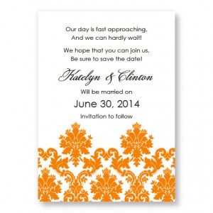 Engagingly Damask Letterpress Save the Date