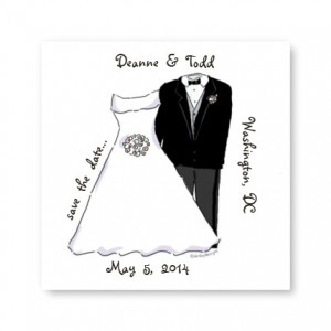 Small Bride and Groom Save the Date Magnets
