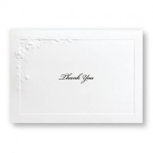 Small Embossed Roses Thank You Cards - LIMITED STOCK ON HAND