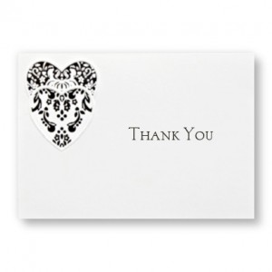 Double Damask Heart Thank You Cards - LIMITED STOCK ON HAND
