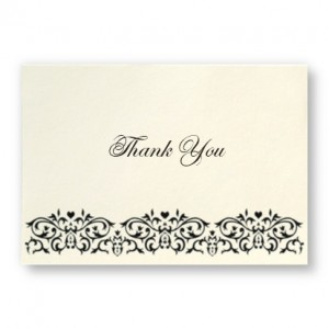 Damask Frame Monogram Thank You Cards
